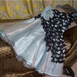 Baby Blue Prom Dress with Lace Accent (One Shoulder)