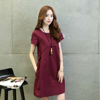 maternity dress plus size cotton linen short sleeved for pregnant women
