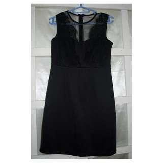 Little Black Dress with Lace & Mesh detail