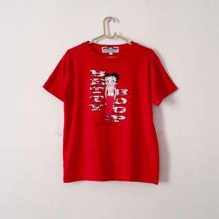 Vintage Betty Boop Printed Red Crew Neck T-shirt Top Authentic Collectible