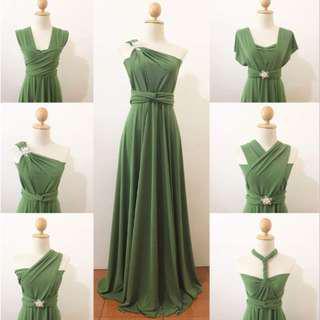 Moss Green Infinity Dress