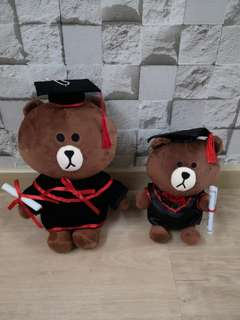 Graduation bear Brown line friends