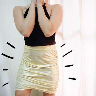 ✨ REPRICED: Gold Fitted Skirt ✨