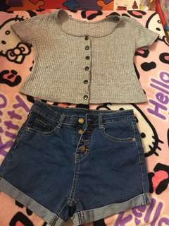 crop top/short set