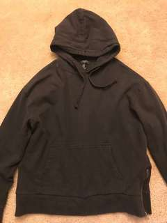 Forever 21 plain black hoodie with side zipper fear of god