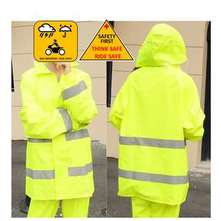 Bright Neon Green with Reflective Stripes Safety Riding Raincoat Jacket with Pant