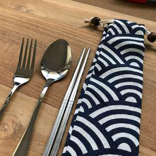 Stainless Steel Cutlery Pouch Set