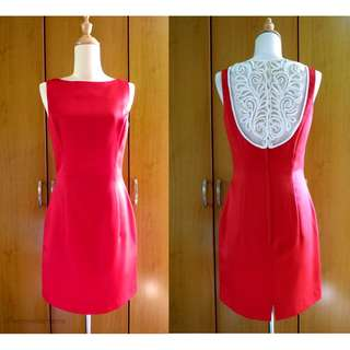 Vintage Gunne Sax Jessica McClintock Red Lace Dress, US Size M / 8