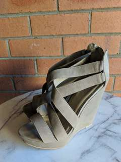 Taupe Wedge Heels - Size 9 - Lipstick Shoes Darva