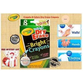 Crayola 8 Colors Dry-Erase Bright Whiteboard Crayons