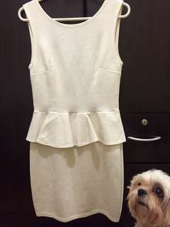 Off-white peplum dress