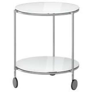 Glass side table (with wheels)