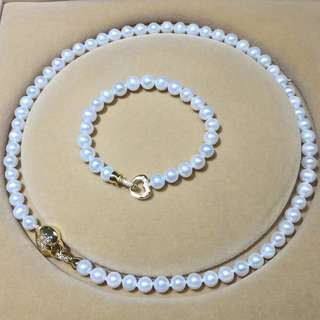 珍珠項鍊手鍊套裝