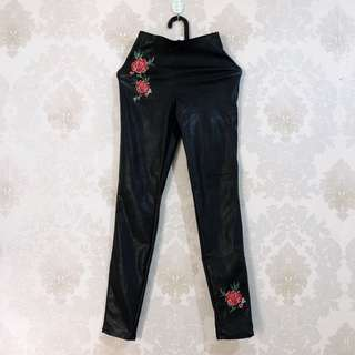 H&M embroidery leather pants