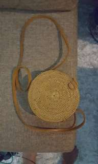 Authentic small round rattan Bali bag