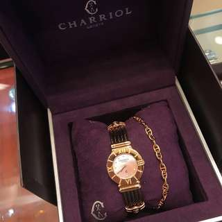 Charriol St Tropez 18k Rose Gold Pink Mother Of Pearl Bronze bangle Quartz Swiss Ladies Watch cartier bvlgari rolex hermes chanel vca carat 瑞士名牌夏利豪綱索玫瑰金 粉紅珍珠貝母 羅馬字 鑽石錶面 女裝手錶