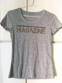 'I never read a fasion magazine' print grey t-shirt