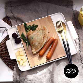 ⚡️[Instock!] Gri Bamboo x Ceramic Serving Platter/Tray