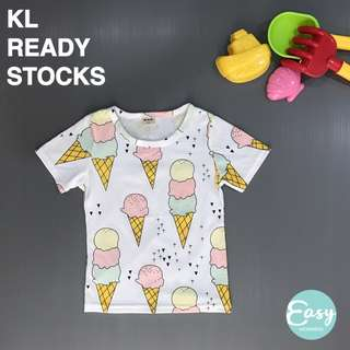Kids Girl Summer Casual Colourful Ice-Cream Short Sleeve Tee T-Shirt