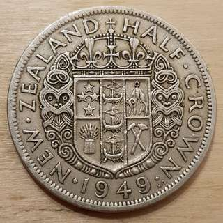 1949 New Zealand King George VI Half Crown Coin
