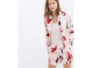 Zara Short Floral Print Blazer