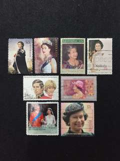 Australia British Royalty  A Selection of 8 Used Stamps