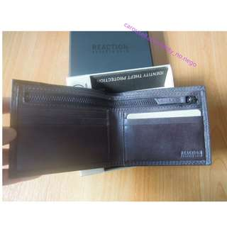 AUTHENTIC Kenneth Cole men's leather wallet RFID blocking bifold zipper compartment coin pouch dark grey