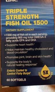 GNC Triple Strength Fish Oil 1500  60 Softgels