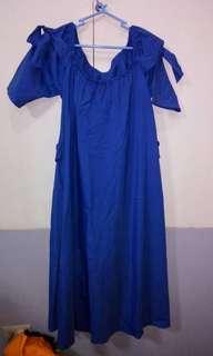 Blue semi off-shoulder maternity dress