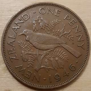 1946 New Zealand King George VI Penny Coin