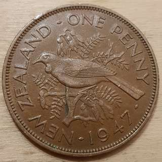 1947 New Zealand King George VI Penny Coin