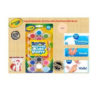 18 Colors Washable Kids Paint Pots with Brush