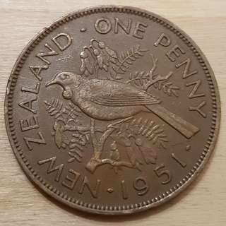 1951 New Zealand King George VI Penny Coin