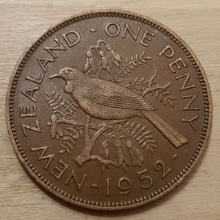 1952 New Zealand King George VI Penny Coin