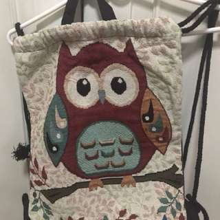 Owl design drawstring bag