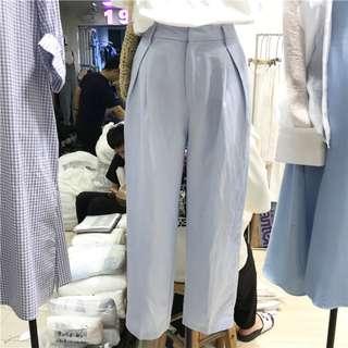 春夏/粉嫩藍色棉麻九分直筒褲