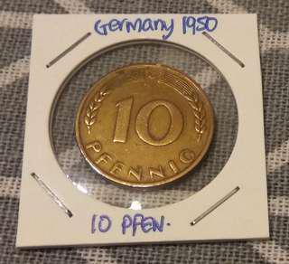 1950 Germany 10 Pfennig