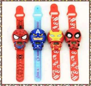 🚚 《現貨》🍭兒童卡通電子玩具手錶/美國隊長/蜘蛛人/鋼鐵人/蝙蝠俠/超人🍭