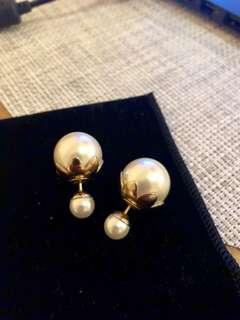 dior 双珍珠耳环