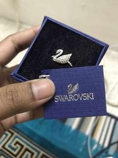 Swarvoski Iconic Swan Ring, White, Rhodium Plating