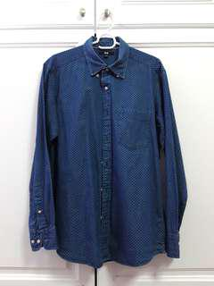 Blue polka dotted Uniqlo long sleeve button up Shirt #mscfashion