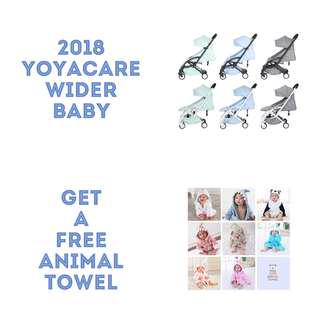 BEST ! - 2018 Edition Yoyacare Wider Baby Stroller, Come with 5 free accessories and free 1 cute animal towel, 3 lovely pastel colours to choose from!
