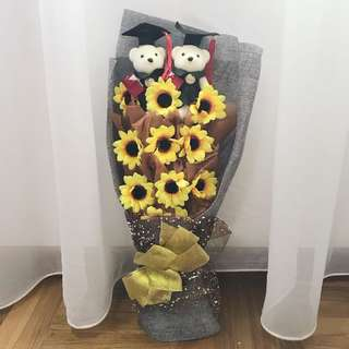 Teddy Bear Graduation Flower Bouquet