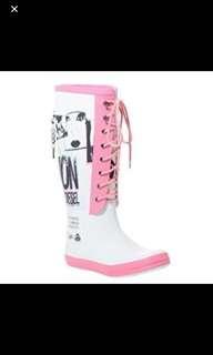 英國 Diesel 水鞋 粉紅色 白色 雨靴 水靴 雨鞋 膠鞋 啫喱鞋 Jelly flats Welles Rainboots