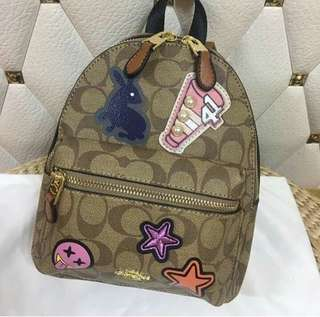 Coach mini backpack with patches