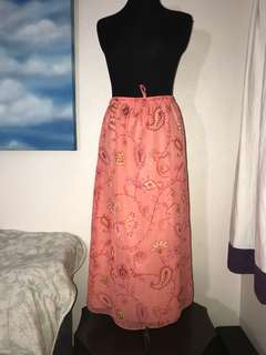 Peach Floral Long Skirt