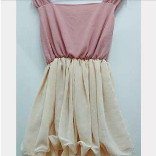 Plain Cute Rose Pink and White Cream Balloon Sleeveless Garter Stretchable Loose Short Dress or Blouse or Top (can be for smart casual / semi formal / work office inner attire / summer / chiffon)
