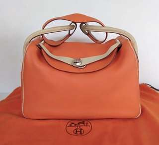Hermes Lindy 34 bicolor orange