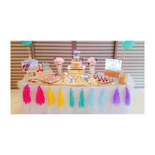 {FOR RENT} Pastel Rainbow Gold Dessert Table Props for Baby Shower, Birthday and Wedding