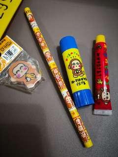 Monkichi 馬騮仔日本絕版擦膠,鉛筆,牙膏,槳糊筆共4件